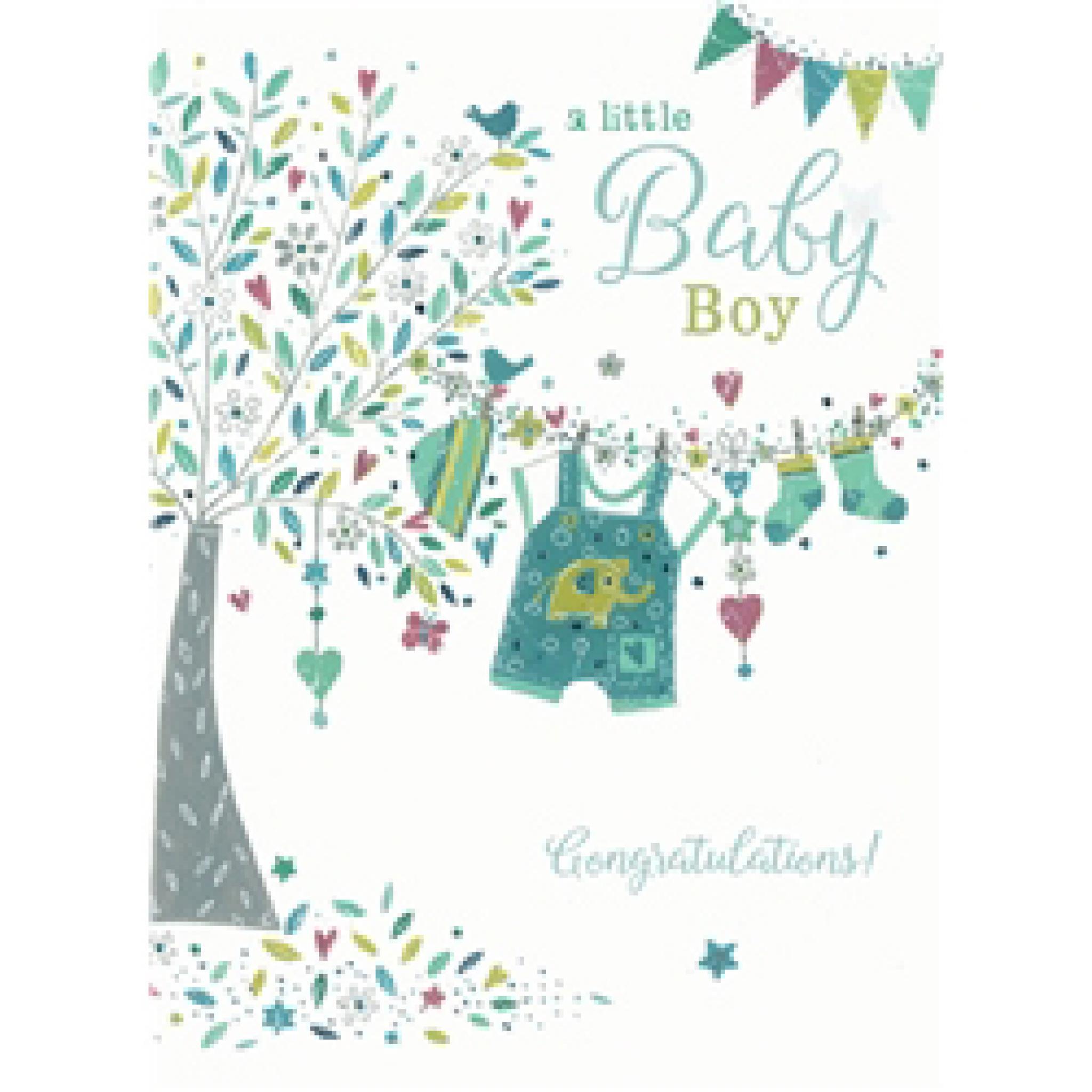 New Baby Card - Tree & Washing line (Baby Boy)