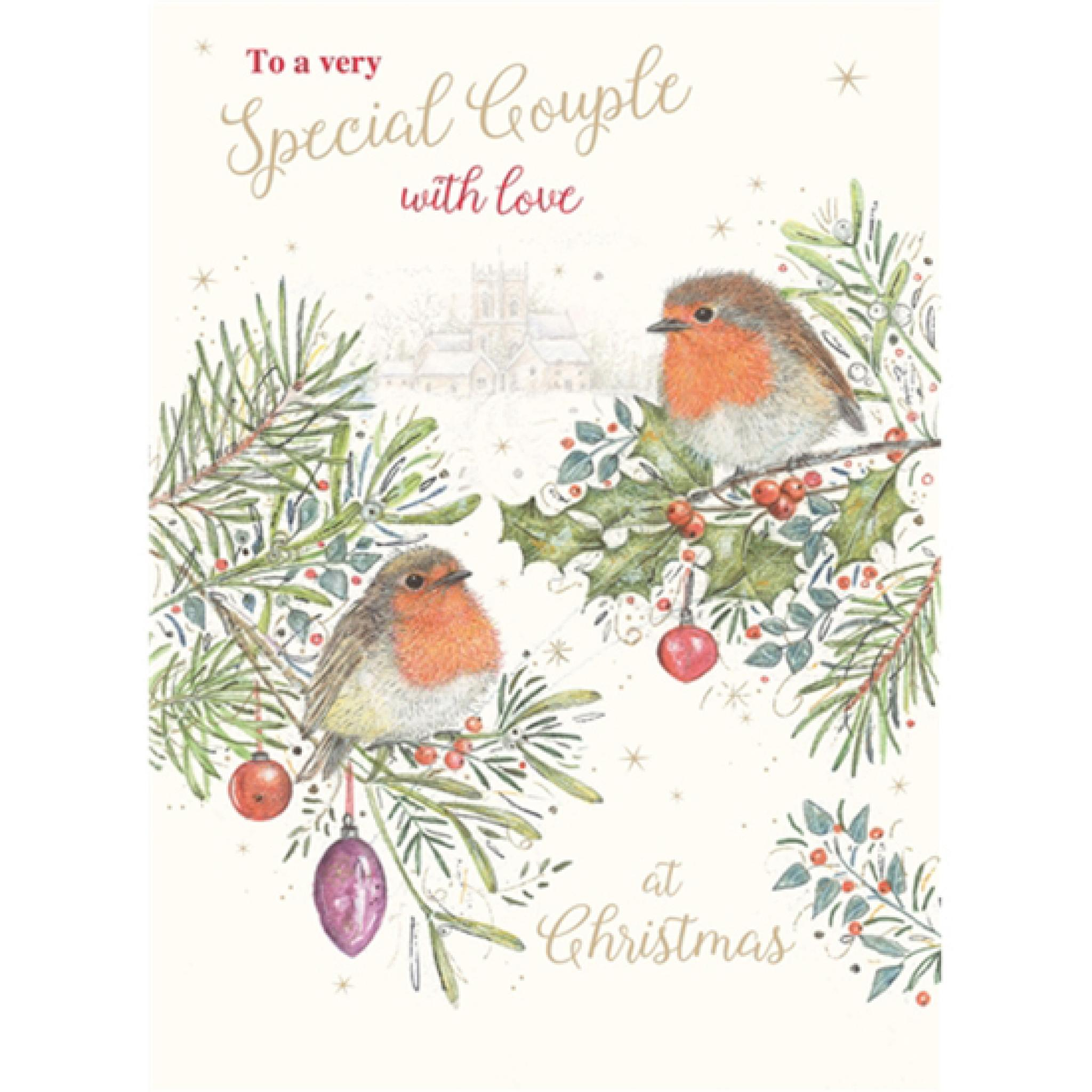 Single Special Couple /'Two Robins/' Christmas Card