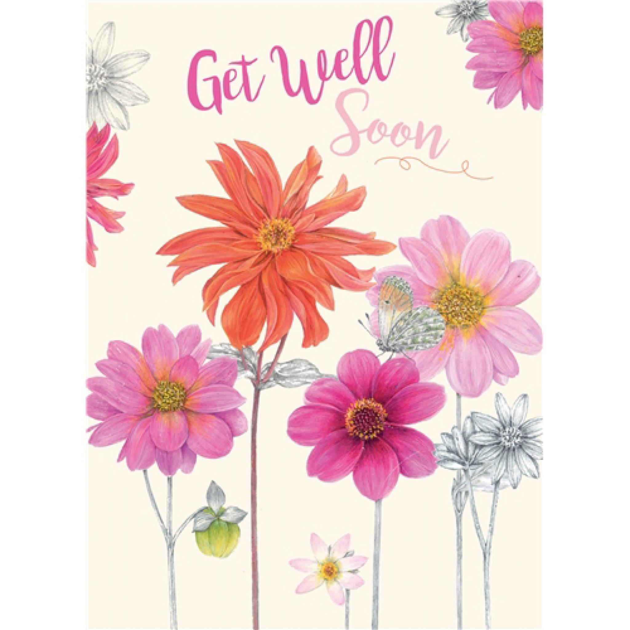 Get Well Soon Card , Pink \u0026 Orange Flowers