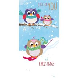 Christmas Card (Single) - Money Wallet - Owls