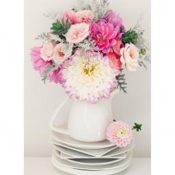 Beautiful Blanks Card - Bouquet On Crockery