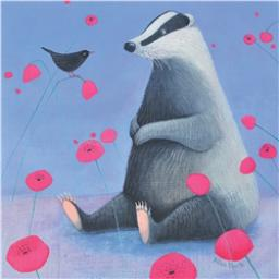 Ailsa Black Card Collection - Badger & Bird 'Badger On Blue'