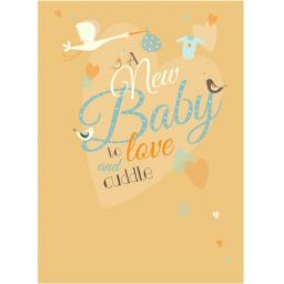 New Baby Card - Stork & Text