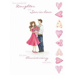 Anniversary Card - Cute Couple (Daughter & Son In Law)