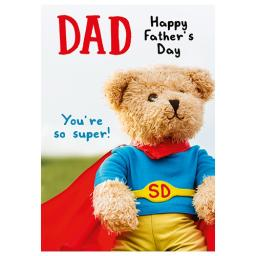 Fathers Day Card - Superman Teddy