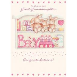 New Baby Card - Bunnies For Her (Great-Granddaughter)