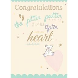 New Baby Card - Pitter Patter