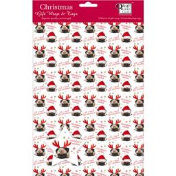 Christmas Wrap & Tags - Cute Santa Pug