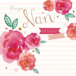 Family Circle Card - Watercolour Roses (Nan)