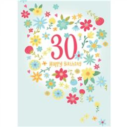 Age To Celebrate Card - 30 Pink & Yellow Flowers
