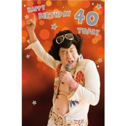 Age To Celebrate Card - 40 Singing Elvis