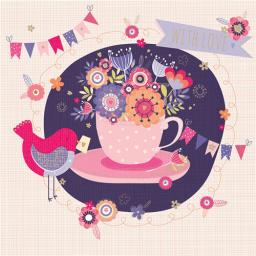 Poppy Davis Card - Floral Teacup
