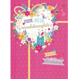 Family Circle Card - Floral Heart (Granddaughter)