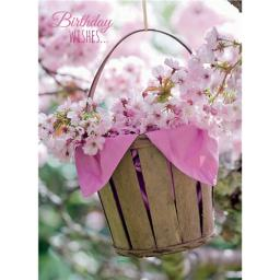Floral Birthday Card - Blossom In Wooden Bucket