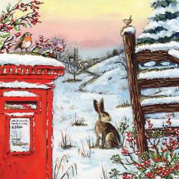 RSPB Small Square Christmas Card Pack - Festive Winter Walk