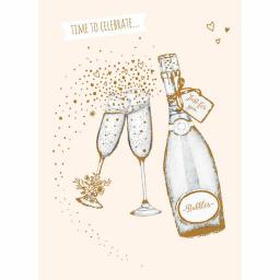 Anniversary Card - Prosecco Glasses & Bottle