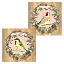RSPB Luxury Christmas Card Pack - Goldfinch & Great Tit In A Wreath