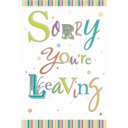 Sorry Card - Text & Stripes (Leaving Card)