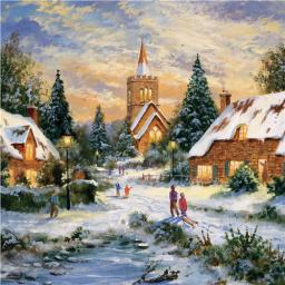 Charity Christmas Card Pack - Village Snow