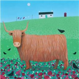 Ailsa Black Card Collection - Highland Cow & Bird 'Bird Talk'