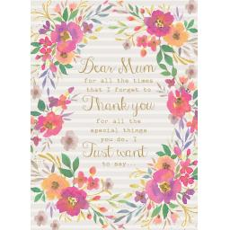 Mother's Day Card - Thank You Floral Border