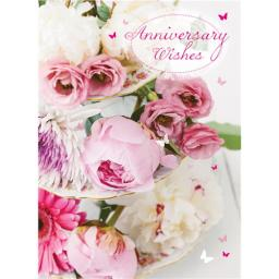 Anniversary Card - Floral Cake Stand (Open)
