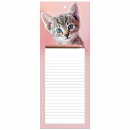 Magnetic Memo Pad - Tabby Cat On Pink