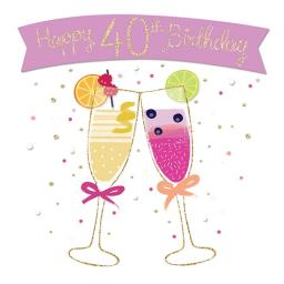 Age To Celebrate Card - 40 Cocktails & Banner