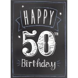 Age To Celebrate Card - 50 Chalkboard Birthday