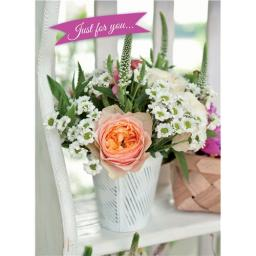 Floral Birthday Card - Peach Rose Bouquet