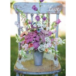 Floral Birthday Card - Wooden Chair Bouquet