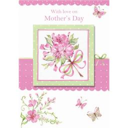 Mother's Day Card - Illustrated Pink Flowers