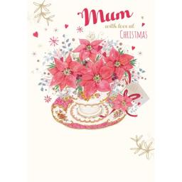 Christmas Card (Single) - Mum 'Teacup Of Poinsettia'