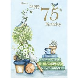 Age To Celebrate Card - 75 Birds & Books