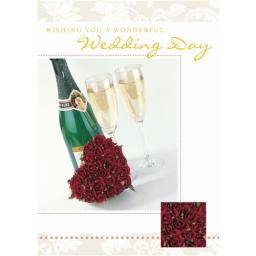 Wedding Card - Champagne & Roses