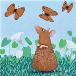Ailsa Black Card Collection - Mouse & Butterflies 'Mousie Capers'