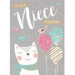 Family Circle Card - Kitten & Balloons (Niece)