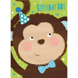 Hip Hip Hooray Card - Milo The Monkey