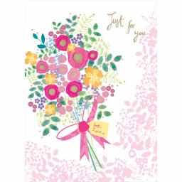Valentines Day Card - Rose Gold Flowers (Open)