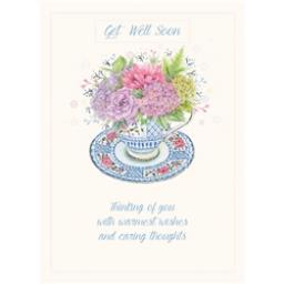 Get Well Soon Card - Tea Cup Bouquet