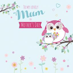 Mother's Day Card - Owls & Flowers