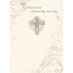 Communion Card - Floral Cross
