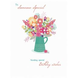 Family Circle Card - Birthday Flowers In Vase (Someone Special)