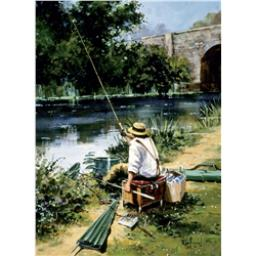 Artists Loft Card - Fishing By The Bridge