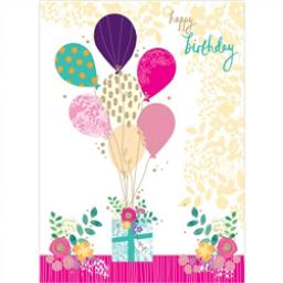 Rose Gold Card - Birthday Balloons