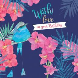 Summer Tropics Card - Tropical Blue Bird