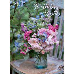 Floral Birthday Card - Posy In Glass Vase