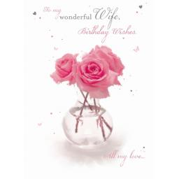 Family Circle Card - Three Pink Roses (Wife)