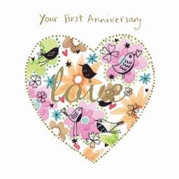 Anniversary Card - Floral Heart (Your First Anniversary)