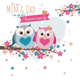 Anniversary Card - Owls (Mum & Dad)